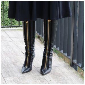 Jimmy Choo Black Leather Zipper High Boots 38